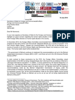 Joint letter to the UK Foreign Office regarding UK policy on human rights abuses in Bahrain