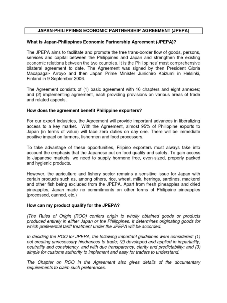 (BITR)JPEPA-FAQ_20Oct10 | International Trade | Economies