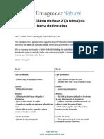 Cardápio Da Dieta Da Proteína Da Fase 2