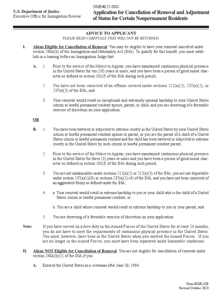 Form Eoir42b Immigration Permanent Residence United States