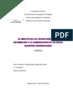 Profesora Sugey Jiménez, Sección Sp01dov. Análisis Sobre El Impacto de Las Tecnologías de La Información y La Comunicación en Los Roles Docentes Universitarios 2