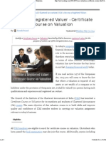 Become a Registered Valuer - Certificate Course on Valuation