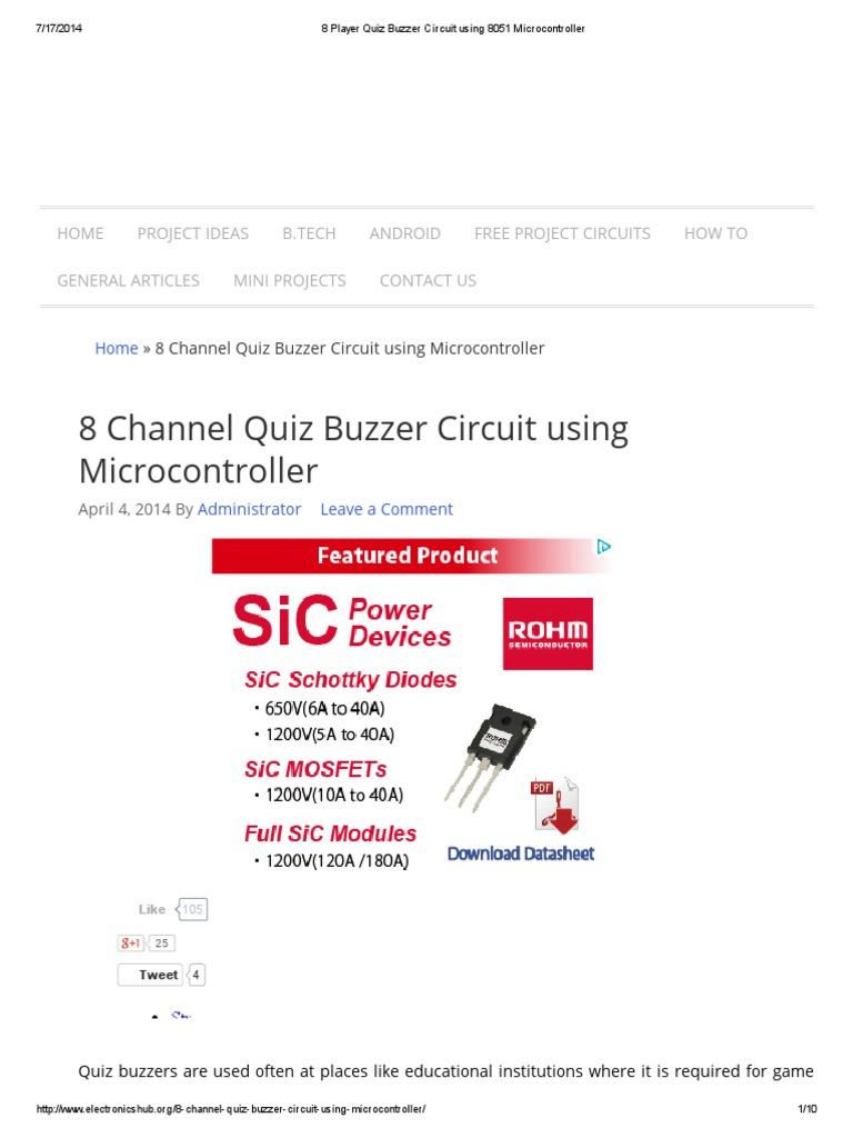 8 Player Quiz Buzzer Circuit Using 8051 Microcontroller Interfacing Gps To Diagram Electrical Network