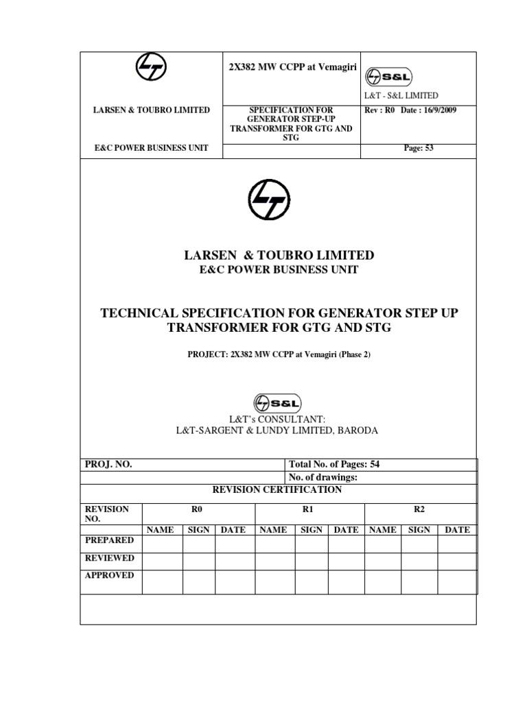 GTGT STGT Specification Vemagiri II R0 | Transformer | Insulator  (Electricity)