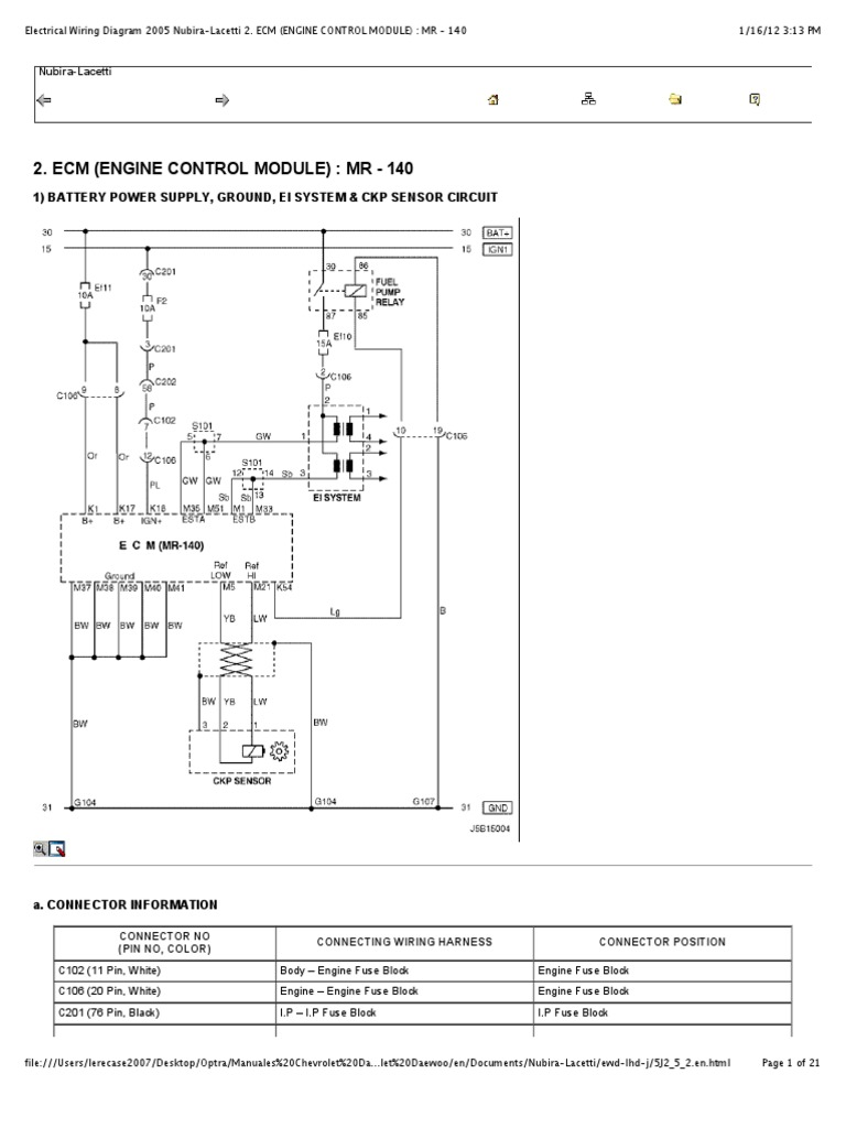 "Preview of ""Electrical Wiring Diagram 2005 Nubira-Lacetti 2. ECM ..."