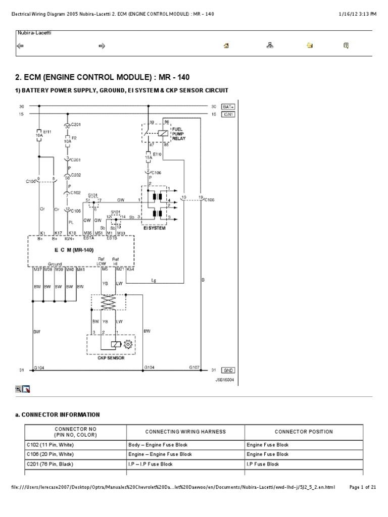 preview of u201celectrical wiring diagram 2005 nubira lacetti 2 ecm rh scribd com daewoo nubira stereo wiring diagram daewoo nubira electrical wiring diagram