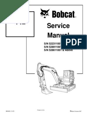 Bobcat 442 Mini Excavator Service Manual | Hvac | Valve