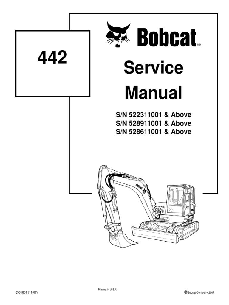 bobcat 442 mini excavator service manual rh scribd com