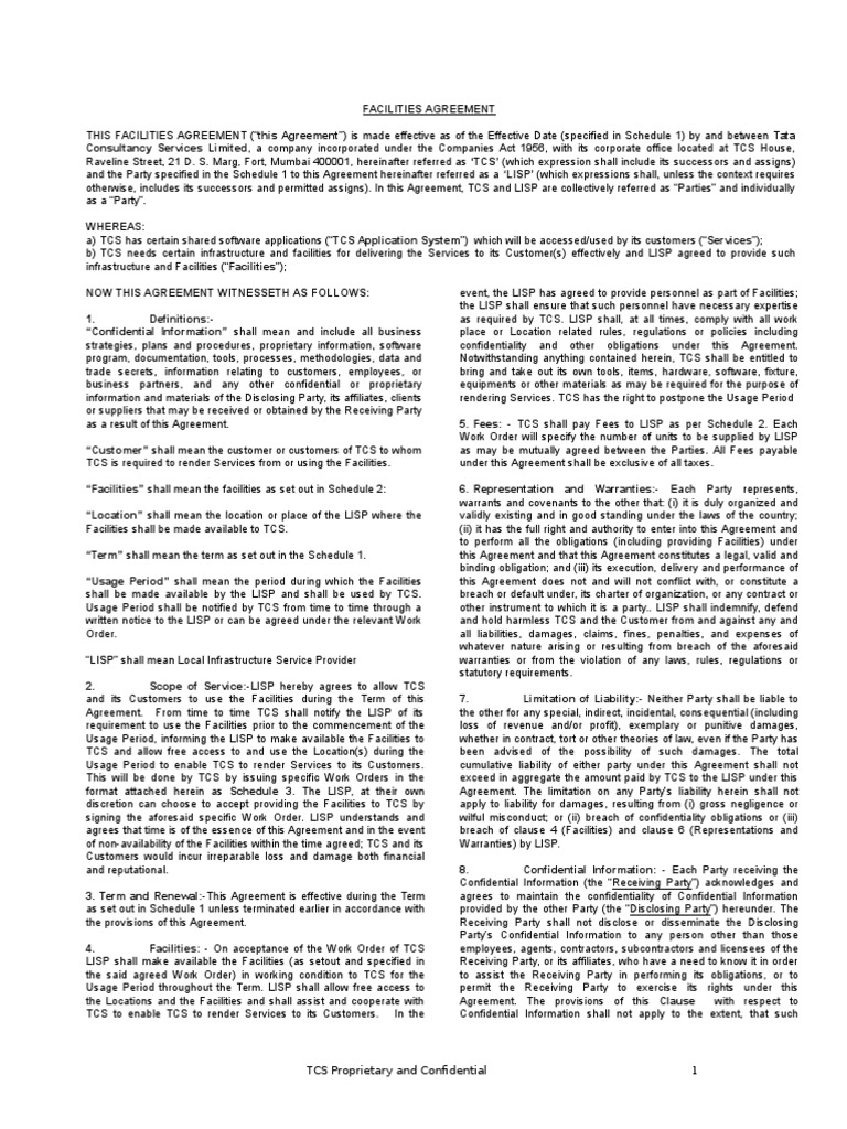 Facility Agreement Iimt Companies Business