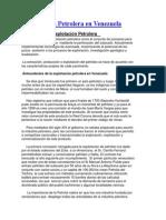Exploracion y Produccion de Petroleo en Venezuela