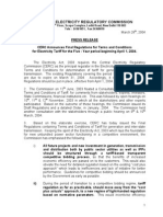 CERC New Terms & Conditions of Tariff _2004-09