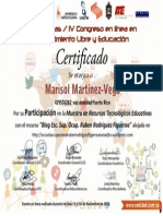 Certificado Participacion Blog Escuela Ocupacional Ruben Rodriguez Figueroa, Naranjito