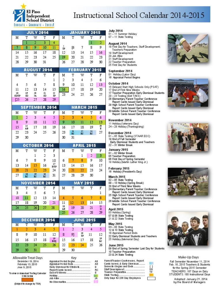 2014 2015 Episd Calendar Academic Term Educational Institutions