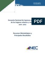 ENCUESTA NACIONAL DE INGRESOS Y GASTOS DE LOS HOGARES URBANO Y RURALES 2011 - 2012