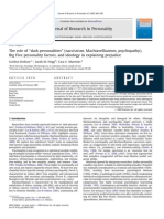 """The Role of ''Dark Personalities"""" (Narcissism, Machiavellianism, Psychopathy), Big Five Personality Factors, And Ideology in Explaining Prejudice"""