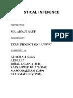 Term Report on ANOVA