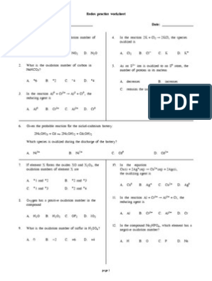 2-5 Redox Reactions Practice Worksheet With Answers   Redox ...