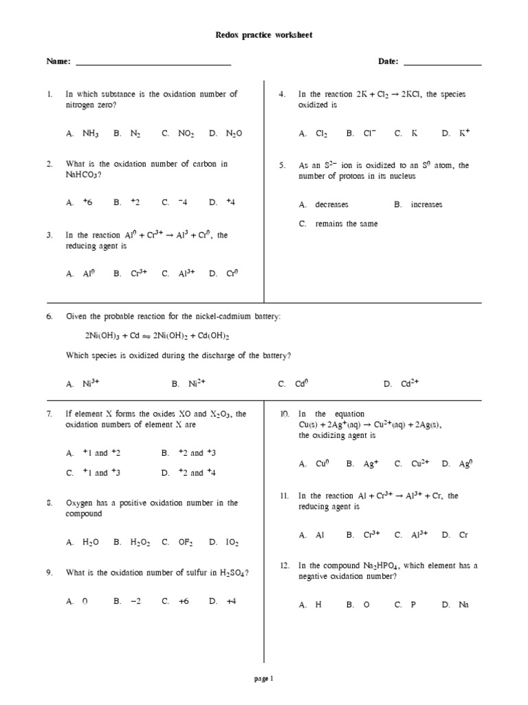 Uncategorized Redox Worksheet 2 5 redox reactions practice worksheet with answers electrochemistry