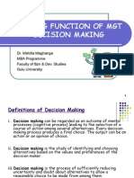 MBA - Planning Function of Mgt - Decision Making