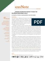 Microfinance to Reach the MDGs Jan 2003