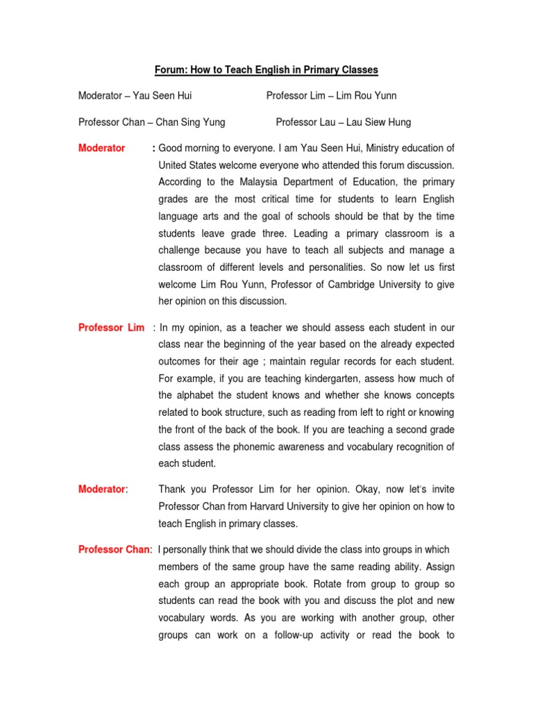 sample script for panel discussion