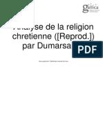 Du Marsais. Analyse de La Religion Chretienne
