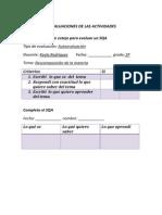lista de evaluaciones de las actividades