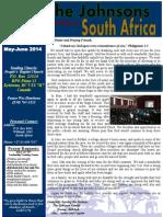 Johnson May-June 2014 Prayer Letter