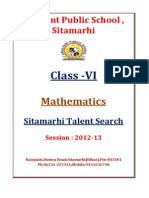 Class VI Maths Sitamarhi Talent Search 2013 1