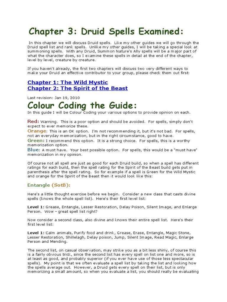 Treantmonk's Druid Handbook Part 3 Druid Spells Examined   Nature