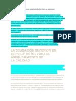 Retos de La Educacion Superior en El Peru Al Sigloxxi