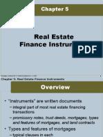 Real Estate Finance Instruments