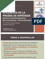 09 2014 Aplicacion PH. Medias Relacionadas e Independientes. Proporciones. JUEVES 8.5.14