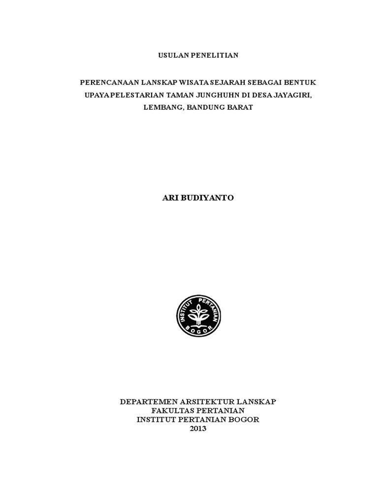 Contoh Cover Proposal Usulan Penelitian Ipb 2013