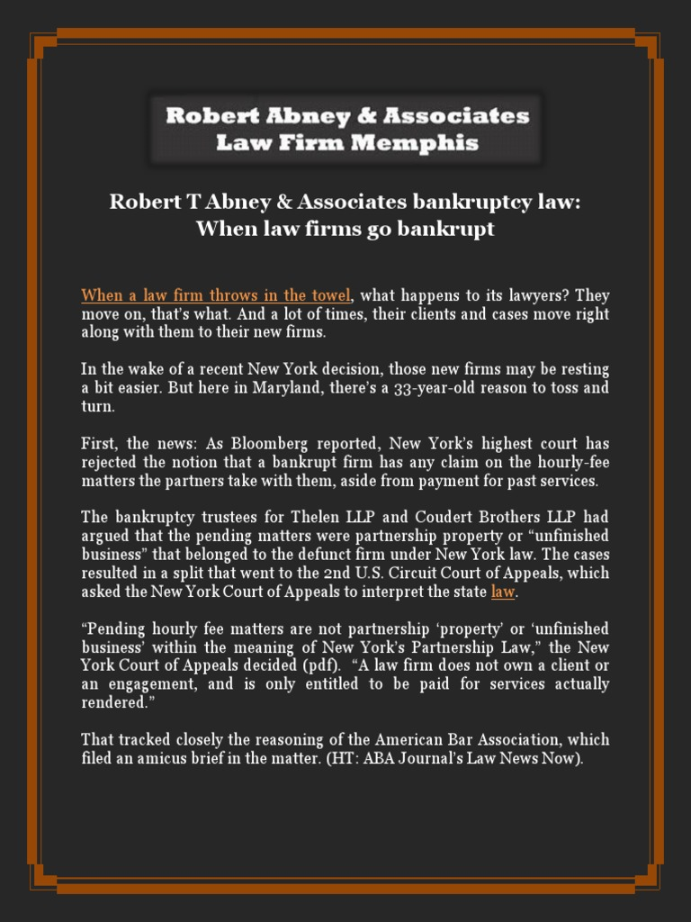 Robert T Abney Associates Bankruptcy Law When Law Firms Go