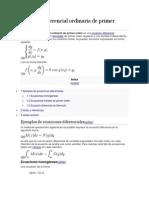 Ecuación Diferencial Ordinaria de Primer Orden