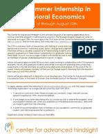 Behavioural Economics Duke Internship Application