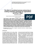 The Effect of Recruitment Process Outsourcing on Creating Competitive Adv for Org Operating in Egypt