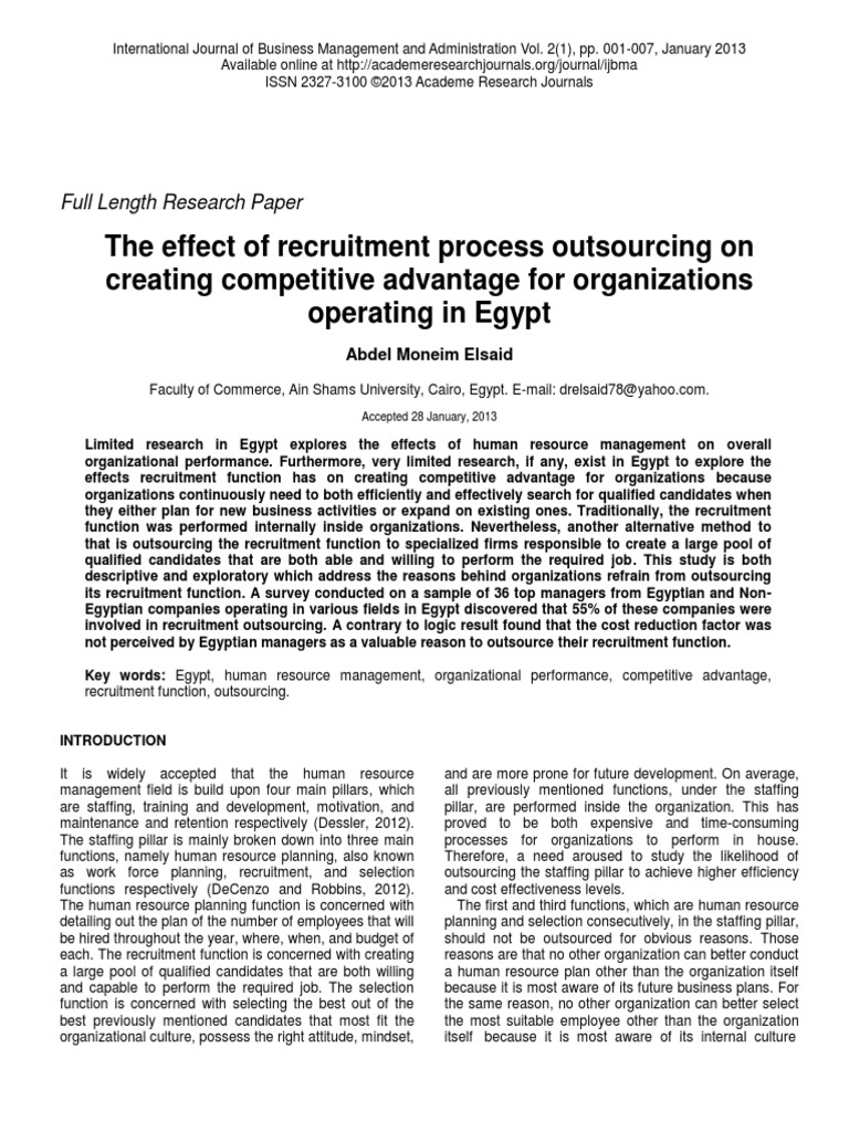 impact of recruitment on organizational performance