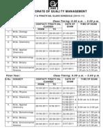 Contact & Practical Class Schedule_Academic 2010-11