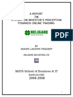 A Study on Investor s Perception Towards Online Trading