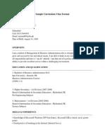 Sample Curriculum Vitae Format