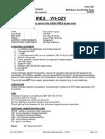 CASA Form 1357 -IREX Exam Aircraft Datasheet VH-OZY