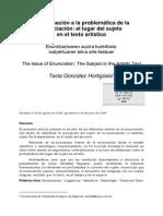Aproximación a La Problemática de La Enunciación. El Lugar Del Sujeto en El Texto Artístico - Tecla González Hortigüela