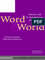 Patricia Hanna, Bernard Harrison. Word & World. Practice and the Foundations of Language
