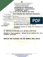 Cronograma de Matrícula 2013 i