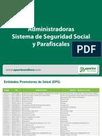 20130101 Administradoras Sistema de Seguridad Social y Parafiscales