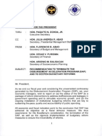 Disbursement Acceleration Program Termination Memo of Sec. Butch Abad