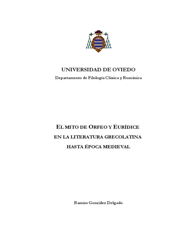 El Mito de Orfeo y Euridice en La Literatura Grecolatina Hasta Epoca ...