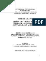 """""""Diseño de Un Sistema de Contabilidad y de Costos Para Una Fabrica Artesanal de Confecciones de Ropa de Punto"""